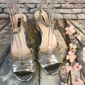 Alex Marie Gloriah Silver Leather Wedge Heels